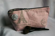 Large Flat Bottom Cosmetic Bag in Light Pink by TheScarletThread1