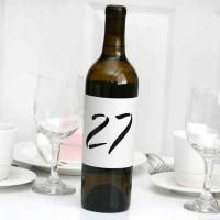"Wine Bottle Table Number Wraps White, shimmer, cut-out table number wraps. Size: 13 1/2"" x 4"". Adjustable sizing fits multiple size items..."