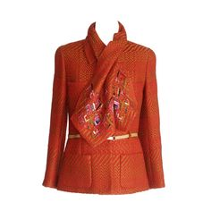 Chanel 00A Jacket Red Camel w/ Sequined Scarf Diamante CC Buttons 42 / 8 1