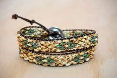 Leather Wrap Bracelet Beaded Wrap Bracelet by BohoGirlDesign
