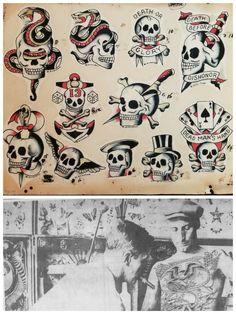 Details about SALE vintage william grimshaw skull tattoo flash giclèe print LE: - Vintage tattoo flash - Fotoshooting Tattoo Flash Sheet, Tattoo Flash Art, Flash Tattoos, Traditional Tattoo Skull, Sailor Jerry Tattoo Flash, Traditional Flash, American Traditional, Tattoo Museum, Japan Tattoo Design