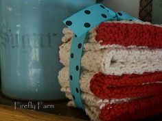 homespun living: waffle knit dishcloth pattern super cute idea for gifts