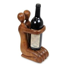 Handmade Balinese Hand Carved Romantic Wine Bottle Holder Gift of Love (Indonesia) - N/A, Brown, Novica (Wood) Wood Wine Bottle Holder, Wine Rack, Diy Bottle, Buy Wood, Wine Storage, Balinese, Wood Sculpture, Hostess Gifts, Wood Grain
