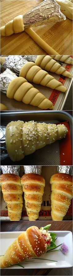 Bread Cones Recipe ~ Fill them with sandwich filling as desired
