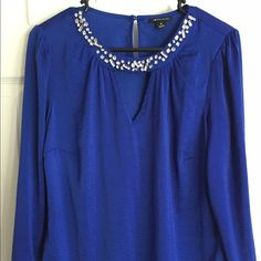 Dressy shirt Royal blue dressy shirt. Stone detailing around collar. Tops Blouses