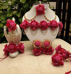 Hot pink Flower Gota Patti Jewellry Set Necklace Earrings Bracelet Mang Tika 6 pieces jewellery set,flower set for Haldi Mehandi, wedding, Baby shower Flower Jewellery For Mehndi, Fancy Jewellery, Flower Jewelry, Bridal Jewellery, Thread Jewellery, Flower Earrings, Jewelry Design Earrings, Indian Jewelry Earrings, Etsy Earrings