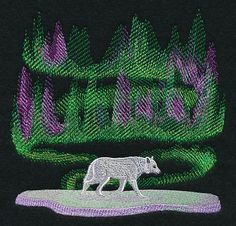 Northern Lights Wolf design (M10766) from www.Emblibrary.com