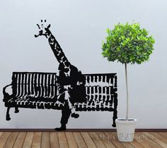 Banksy Giraffe on a Bench Wall Sticker Decal by Decoratique