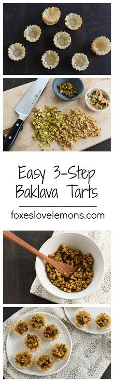 **LAST MINUTE HOLIDAY DESSERT** Easy 3-Step Baklava Tarts - All the flavor of baklava, in bite-sized tarts that take just minutes to make! | foxeslovelemons.com: