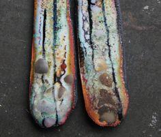 galaxy copper enamel sticks with glass lampwork jewelry supplies 2pc 4ophelia