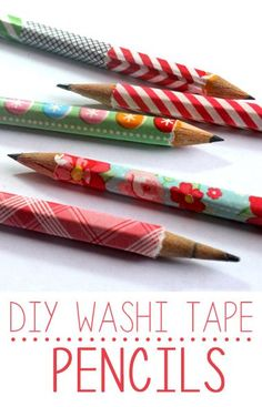 DIY washi tape pencils. Need to do this to keep track of whose pencil is whose! (hmmm...I think the tape is bad for sharpeners & why would it matter if pencils get mixed up? But cute for pens.)
