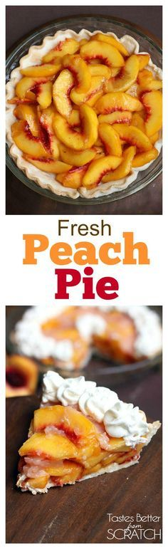 My family's favorite peach pie recipe! No-bake and made with fresh, juicy peaches! Recipe on TastesBetterFromScratch.com