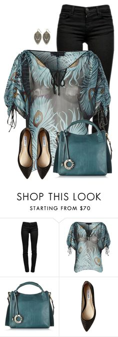 """""""Peacock Top"""" by daiscat ❤ liked on Polyvore featuring J Brand, Hale Bob, Francesco Biasia, Steve Madden and Decree"""