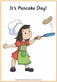 Pancake Day poster, little girl flipping pancakes