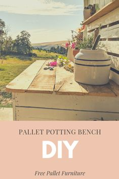Find out how to make your own DIY pallet potting bench for free using reclaimed pallets. Turn trash to treasure and create your own farmhouse furniture. Free Pallets, Recycled Pallets, Wood Pallets, 1001 Pallets, Diy House Projects, Cool Diy Projects, Outdoor Projects, Pallet Projects, Outdoor Ideas
