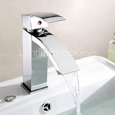 Contemporary Centerset Waterfall with  Ceramic Valve Single Handle One Hole for  Chrome , Bathroom Sink Faucet - USD $51.32