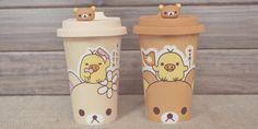 Adorable to go coffee mug ._. I really want more Rilakkuma stuffies