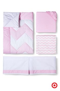 Can you ever have enough pink? The Circo Zigs n' Zags 4-pc. crib bedding set in pink allows you to easily outfit the entire crib in soft modern chevron and cheery polka dots. This set includes a fitted crib sheet, comforter, dust ruffle and baby blanket—perfectly soft, perfectly sweet.