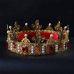 Crown of Thorns Men King Crown Pageant Prom Accessories Full Circle Round Crystals  Tiara Pageant Tiara Wedding Hair Accessories f44d4321ab9f
