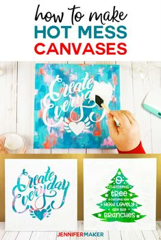 Make a hot mess canvas projects with a Cricut cricut canvas paint vinyl svgcutfile 721350065293292654 Vinyl Canvas Ideas, Canvas Crafts, Diy Canvas, Canvas Signs, Cricut Stencils, Cricut Craft, Christmas Canvas, Christmas Wood, Christmas Signs