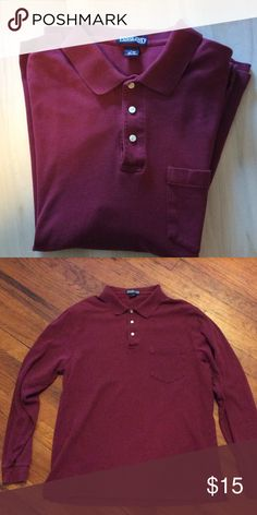 Lands End long sleeve Henley! Very Handsome cranberry color! Super soft! Gently worn but very clean and nice! Lands' End Shirts Casual Button Down Shirts