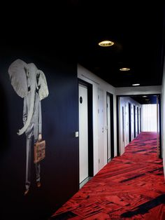 Interior, Hallway With Black Wall And Red Flooring: Awesome Citizenm Glasgow Hotel Like Wonderland Design