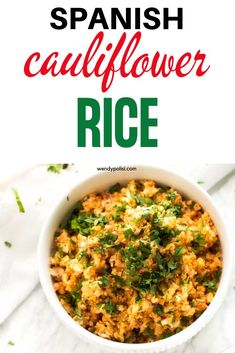 You are going to fall in love with this delicious Keto Spanish Cauliflower Rice. This easy low carb side is perfect for Taco Tuesday and a great addition to any meal with a Southwestern flair. Gluten Free Recipes For Breakfast, Healthy Gluten Free Recipes, Healthy Dinner Recipes, Vegetarian Recipes, Keto Recipes, Delicious Recipes, Paleo, Spanish Cauliflower Rice, Frozen Cauliflower Rice