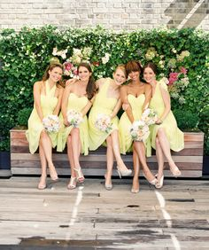 Yellow bridesmaids dresses by Donna Morgan Mismatched Bridesmaid Dresses, Beautiful Bridesmaid Dresses, Bridesmaid Flowers, Wedding Bridesmaids, Bridesmaid Ideas, Bridesmaid Gowns, Bridal Flowers, Wedding Trends, Wedding Styles