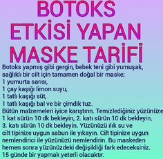 Botox Effect Mask Recipe - .- Botoks Etkisi Yapan Maske Tarifi – Botox Effect Mask Recipe – the the the - Homemade Skin Care, Homemade Beauty, Dermaroller, Short Hair Trends, Tips & Tricks, Face Skin Care, Beauty Care, Beauty Makeup, Eye Makeup