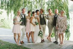 Gatsby Garden Party wedding party style | SouthBound Bride | http://www.southboundbride.com/summer-garden-party-wedding-at-rockhaven-by-love-made-visible-caroline-luke | Credit: Love Made Visible