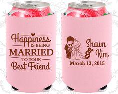 Happiness is Being Married to your Best Friend, Neoprene Wedding, Bride and Groom, Rehearsal Dinner, Neoprene Wedding Favors (515)