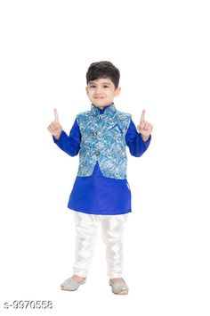 Ethnic Jackets  NEW GEN  BOYS   FULL SLEEV  JACKET KURTA & PAIJAMA PANT  Fabric: Chanderi Silk Sleeve Length: Long Sleeves Pattern: Self-Design Combo of: Combo of 3 Sizes:  4-5 Years (Chest Size: 12 in Waist Size: 16 in)  1-2 Years (Chest Size: 11 in Waist Size: 15 in)  3-4 Years (Chest Size: 12 in Waist Size: 16 in)  6-12 Months (Chest Size: 11 in Waist Size: 15 in)  2-3 Years (Chest Size: 11 in Waist Size: 15 in)  Country of Origin: India Sizes Available: 2-3 Years, 3-4 Years, 4-5 Years, 6-12 Months, 0-1 Years, 1-2 Years   Catalog Rating: ★4 (456)  Catalog Name: NEW GEN BOYS FULL SLEEV JACKET KURTA & PAIJAMA PANT CatalogID_1779172 C58-SC1171 Code: 103-9970558-