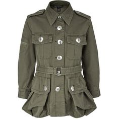 Marc By Marc Jacobs Cotton Twill Military Jacket ($615) ❤ liked on Polyvore featuring outerwear, jackets, green, green field jacket, cropped military jacket, field jacket, belted jacket e army jacket