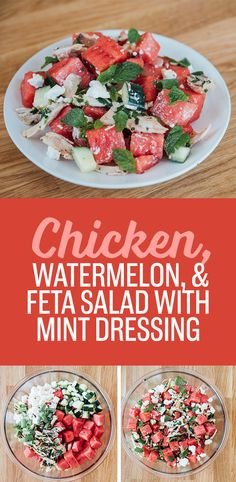 One-Bowl Chicken, Feta, and Watermelon Salad With Mint Dressing | 7 Easy Weeknight Recipes That Use Store-Bought Rotisserie Chicken
