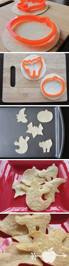 Spooky Baked Tortilla Chips for Halloween! Click for recipe.