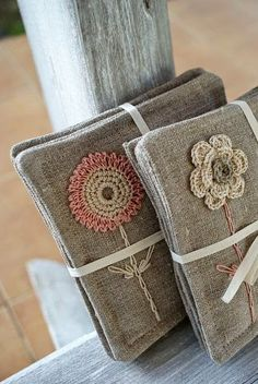 Items similar to Coasters set of 4 /linen/sewing, crochet and embroidery on Etsy Crochet Home, Knit Crochet, Fabric Crafts, Sewing Crafts, Crochet Projects, Sewing Projects, Crochet Cushions, Linens And Lace, Crochet Flowers