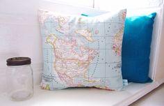 Beautiful Vintage Map Print Cushion Soft by LilyLovesShopping