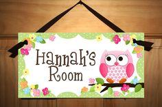 DOOR SIGN Owls Love Flowers Girls Bedroom by LittleMonkeyDoodles, $14.00