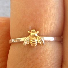 Simple tiny sterling silver bee ring silver and gold by lunahoo - size 5.25 - $24.99 - Shiny band -  I would love this. I have called Easton my honeybee since he was born