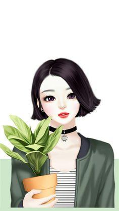 New Flowers Illustration Girl Artists Ideas Korean Illustration, Illustration Girl, Illustration Artists, Cartoon Girl Images, Cute Cartoon Girl, Pretty Anime Girl, Anime Art Girl, Cute Girl Drawing, Cute Drawings