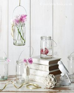 craft a jar to hang, with flowers or tea light candles