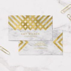 Chic and Elegant Marble Faux Gold Geometric Business Card - consultant business job profession diy customize