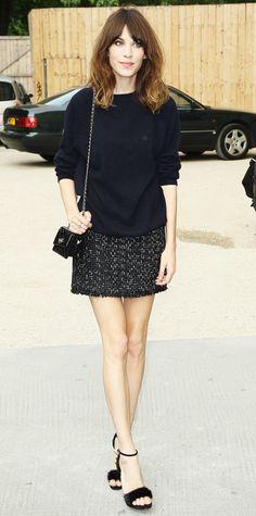 sweater + tweed mini + heels. chic fall fashion