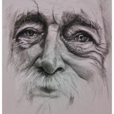 """""""Complete"""" charcoal pencil old man portrait drawing on strathmore paper by donna readman Male Face Drawing, Pencil Portrait Drawing, Portrait Sketches, Drawing Faces, Cool Art Drawings, Realistic Drawings, Easy Drawings, Pencil Sketches Easy, Pencil Drawings Of Girls"""