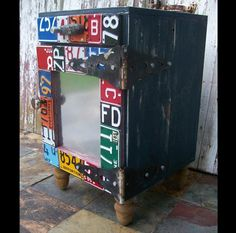 I can do this! Fun and Funky Furniture - Side Cabinet - End Table - Night Stand - Book Case Bookcase - Shelf - Recycled Vintage License Plate Art - Salvaged Wood - Upcycled Artwork