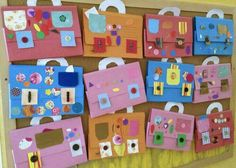 Made by preschoolers: Bags for art and they can use them to take home all the artwork at the end of the year. Option 2 accordion style.