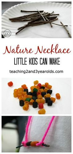 Nature stick necklaces little kids can make. Great for fine motor development, too!