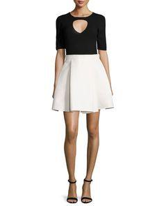 TBL5T Halston Heritage Half-Sleeve Twofer Colorblock Dress