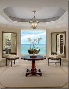 Elegant Tray Ceiling Designs - Home Design Home Design, House Design Photos, Design Ideas, Design Styles, Design Inspiration, Foyers, Coastal Living Rooms, Foyer Decorating, Decorating Ideas