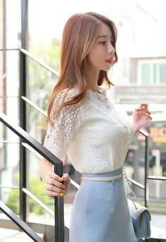 Korean Women`s Fashion Shopping Mall, Styleonme. Fashion Models, Girl Fashion, Fashion Outfits, Womens Fashion, Korean Beauty, Asian Beauty, Classy Work Outfits, Sexy Blouse, Foto Pose